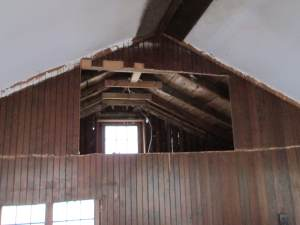 Loft, open and without drywall! Stripped to the rafters, which look amazing and dry, like the sheathing above. Phew - one non-leaky area!
