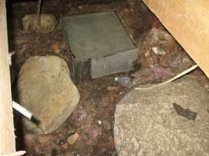 Woo hoo! A concrete pad! Lightbulb (more trash in the cellar - we didn't get it all) for scale.