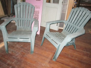 Comfy(ish) temporary living room chairs. The finest molded plastic. Sun-kissed weathered finish.