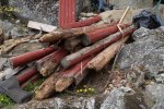 Logs: bottoms pretty rotten. We'll do some block courses.