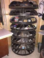 'The Spinner' - we found this used on craigslist - an older, huge, hardware-store type spinning 8-tray hardware carousel! Every bit of hardware we had fit in here.