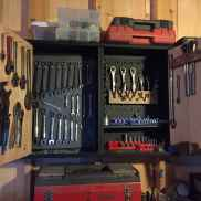 K's cabinet (a ReStore find), outfitted for the whole collection of wrenches.