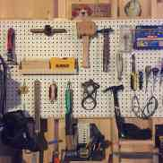 My lovely, lovely pegboard over my bench.